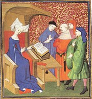 Christine de Pizan lecturing to a group of men.