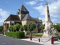 Church and war memorial at Juniville (Ardennes, Fr).JPG