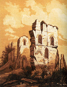 Church of Tithes, Kiev, ruins in 1826.jpg