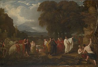 Archimedes - Cicero Discovering the Tomb of Archimedes by Benjamin West (1805)