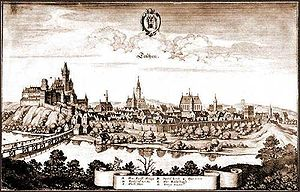 Cieszyn - Copper engraving from c. 1640 depicting the town