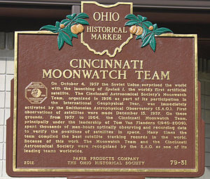 Tom Van Flandern - Van Flandern mentioned in historical marker about Project Moonwatch. Placed by Cincinnati Astronomical Society and the city of Cincinnati, OH