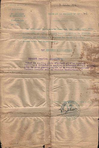 2nd Infantry Division (France) - Image: Citation a l'ordre de l'armee maurice debaene 73 RI