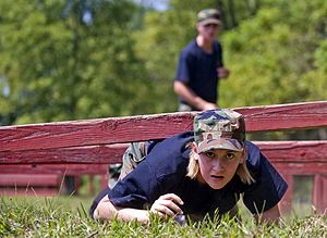 Indiana Wing Civil Air Patrol -  Civil Air Patrol Cadets negotiate the conditioning course at Camp Atterbury.