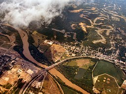 Cleves from the air, looking northeast, along the Great Miami River