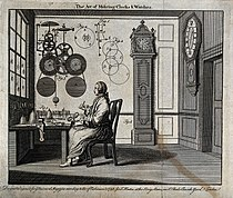 Clocks; a watch-maker seated at his workbench with a long-ca Wellcome V0023855.jpg