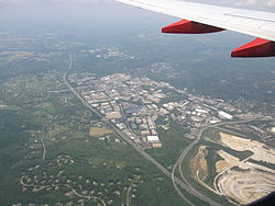 North-west portion of Cockeysville, Maryland as seen from the air