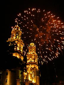 Fireworks over the Cathedral of Morelia