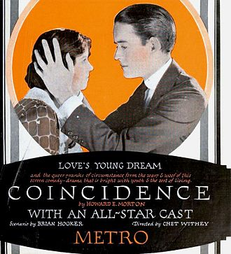 Coincidence (1921 film) - Ad for film
