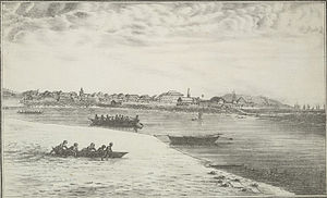 Colaba Causeway - Colaba Causeway construction using timber, view from Colaba island, 1826