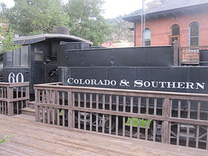 Idaho Springs, Colorado - Colorado and Southern Railroad locomotive on exhibit in Idaho Springs