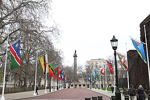 Commonwealth Day - Flags of the Commonwealth flying in Horse Guards, London; Monday, 10 March 2014