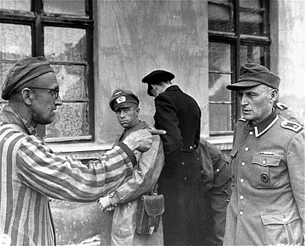 A concentration camp victim identifies an SS guard in June 1945 Concentration camp SS.jpg