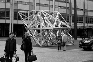 Conrad Shawcross - Wooden sculpture by Shawcross in Basel, Switzerland