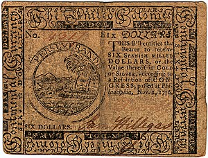 Continental Currency $6 banknote obverse (November 2, 1776).jpg