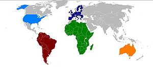 Map of currently existing continental unions. ...