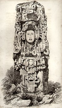"Stela N, depicting King K'ac Yipyaj Chan K'awiil (""Smoke Shell""), as drawn by Frederick Catherwood in 1839"