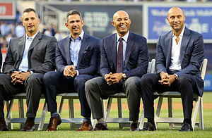 Core Four - The Core Four in 2015. From left: Andy Pettitte, Jorge Posada, Mariano Rivera, and Derek Jeter.