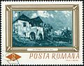 Country house by Gheorghe Petrascu 1966 Romanian stamp.jpg