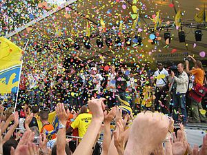 FC Sochaux-Montbéliard - Sochaux supporters celebrating winning the Coupe de France in 2007.