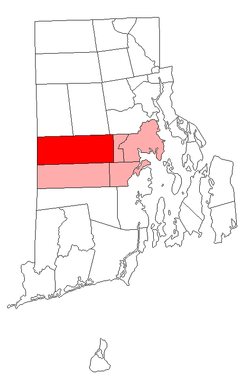 Location in Kent County and the state of Rhode Island.