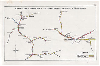 Tenbury Wells - Railway Clearing House Junction Diagram of 1903. Woofferton railway station on the Welsh Marches Line.