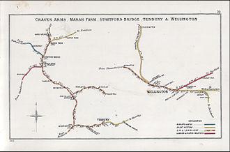 Shrewsbury and Hereford Railway - Image: Craven Arms, Marsh Farm, Stretford Bridge, Tenbury & Wellington RJD 19