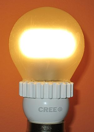 Cree Inc. - A Cree 9.5 watt 800 lumen dimmable lamp bulb, with 2700 K color temperature, introduced in March 2013