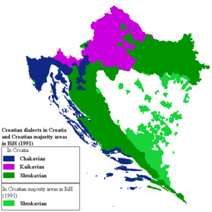 Kajkavian - Location map of Serbo-Croatian dialects in Croatia and areas in BiH with Croat majority. Kajkavian in purple.