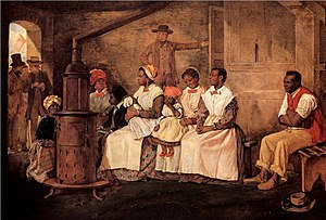 "Female slavery in the United States - ""Slaves Waiting for Sale."" Women and children slaves wait to be sold in Richmond, Virginia in the 19th century. Painted upon the sketch of 1853."