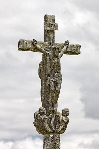 English: Wayside cross in Laraño, Santiago de ...