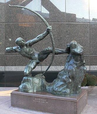 Hercules the Archer - Copy at Trammell Crow Center sculpture garden, Dallas, Texas
