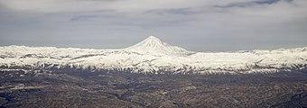 Aerial panoramic view of Mount Damavand.