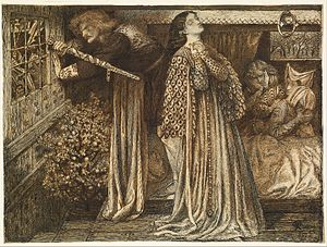 Lancelot - Sir Launcelot in the Queen's Chamber by Dante Rossetti (1857)