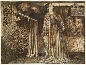 Lancelot - Sir Launcelot in the Queen's Chamber by Dante Rossetti (1857)