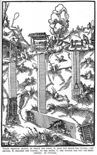 Narrow-gauge railway - 1556 woodcut from De re metallica, showing a narrow-gauge railway in a mine