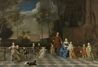 Portrait of the Amsterdam merchant Jeremias van Collen (1619-1707), with his wife and their twelve children
