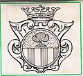 De Salis shield motif used as the cover of a flat matchstick pack. c. 1972 adaption of c. 1734 design.jpg