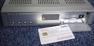 Cryptoworks - Logo Irdeto, decoder (Humax) and smartcard (Ziggo NL)