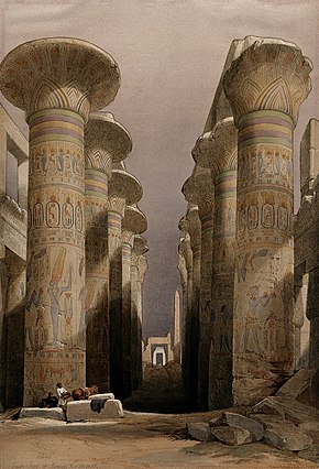 Decorated pillars of the temple at Karnac, Thebes, Egypt. Co Wellcome V0049316.jpg