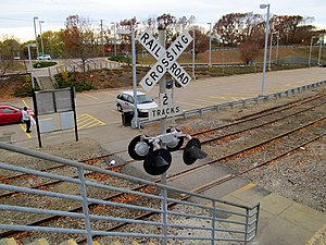 Readville (MBTA station) - Pedestrian grade crossing of the former Dedham Branch (near track) and the 5-Yard lead track