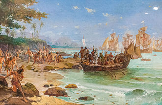 The Portuguese arrival in Brazil on 22 April 1500 was led by Pedro Alvares Cabral. Desembarque de Pedro Alvares Cabral em Porto Seguro em 1500 by Oscar Pereira da Silva (1865-1939).jpg