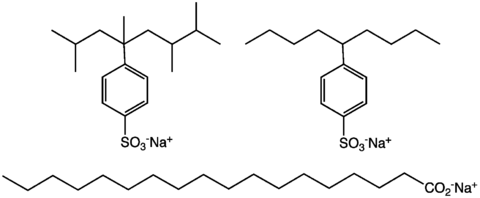 Three Kinds Of Anionic Detergents Branch Alkylbenzenesulfonates Linear And A Soap