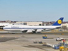 Deutsche Lufthansa Boeing 747-830 Intercontinental D-ABYT (retro livery) at JFK Airport.jpg