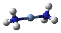 Ball-and-stick model of the diamminesilver(I) cation, [Ag(NH3)2]+