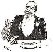 Homme tenue de soirée, moustache, monocle, l'air bourru, assis à une table de restaurant