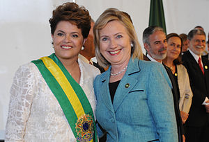 First inauguration of Dilma Rousseff - One of the invitations for the inauguration was Hillary Clinton, here greeting President Dilma Rousseff, January 1, 2011.