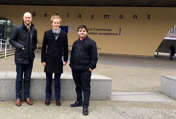 Dimi, Gnom and Karl in front of the Berlaymont cropped.jpg