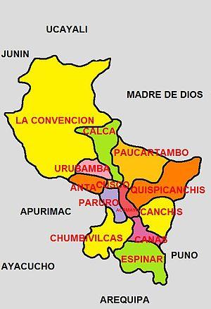 Cusco Region - Political division of the Cusco Region