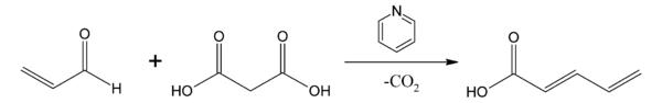 クネーフェナーゲル縮合によるドブナー法の例。アクロレインとマロン酸がピ... Wikipedia